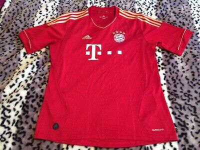*BAYERN MUNICH * Adidas Red Climacool  Football Top Munchen Shirt Gold Stripes