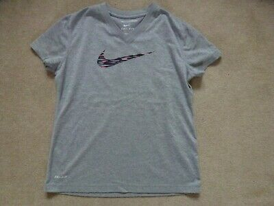 NIKE Girls DRI-FIT T-Shirt In Grey Size M (Age 10)