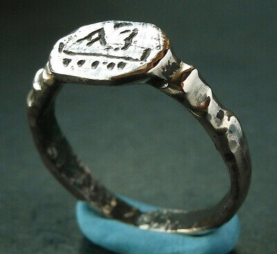 GENUINE ANCIENT VIKING BRONZE RING WITH INTERESTING INSCRIPTION  - wearable