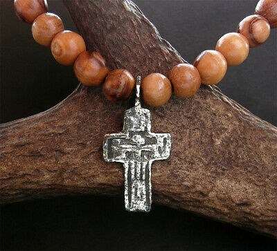 POST MEDIEVAL BRONZE CROSS PENDANT with beads from Bethlehem - wearable