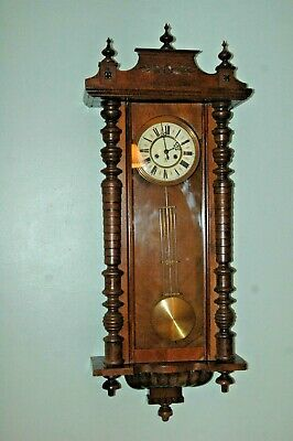 ANTIQUE GUSTAV BECKER 19th CENTURY WALL CLOCK WITH KEY & PENDULUM.