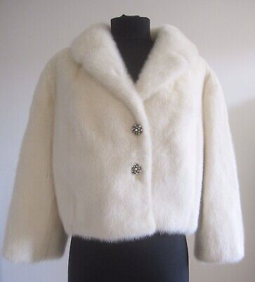 VTG White Mink Fur Cape Bolero Jacket Coat Wrap Shawl Stole Wedding Real Ivory