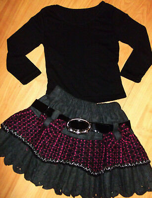 GIRLS BLACK TOP & GREY CERISE CHECK PATTERN BOW TRIM RUFFLE PARTY SKIRT age 5-6