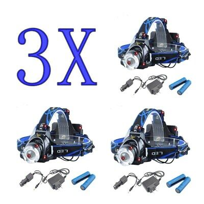 3X 90000LM LED Headlamp Headlight Flashlight Head Torch Rechargeable CREE XML AU