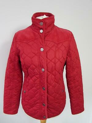 NEXT Ladies Red Quilted Jacket Coat Lightly Padded Corduroy Trim Size 12 VGC