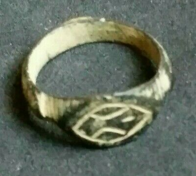 Authentic Ancient Bronze Roman Ring Artifact Antiquity Old Evel Eye Protection