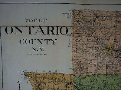 Antique Large Map Of Ontario County New York NY As Found Canandaigua Naples