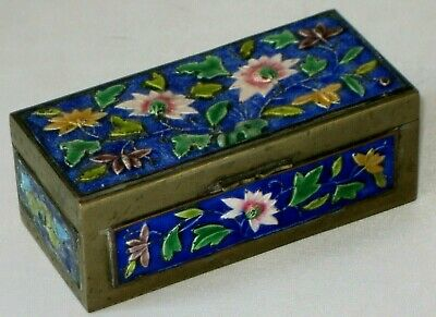 Antique Vtg Chinese Cloisonne Enamel Brass Hinged Stamp Trinket Box Marked China