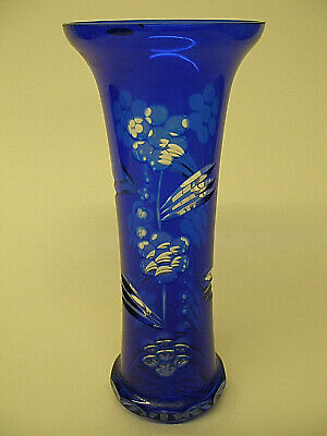 Vintage BOHEMIAN Cobalt Blue cut to Clear CRYSTAL FLUTED VASE USSR - ART GLASS