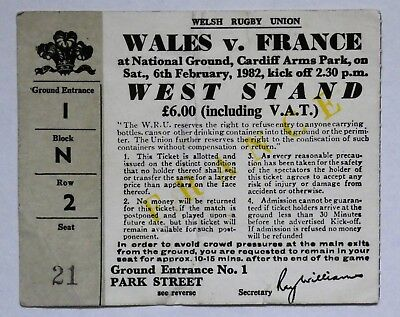 Wales France Rugby Union Ticket 1982