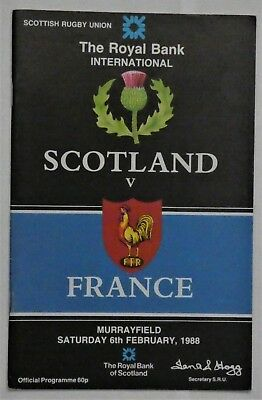 Scotland France Rugby Union Programme  1988