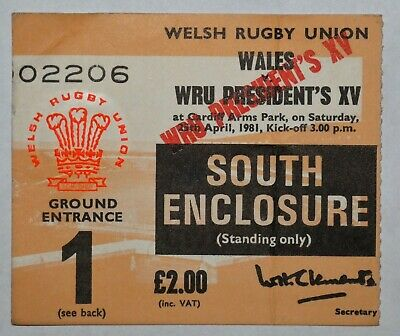 Wales Presidents Xv Rugby Union Ticket 1981