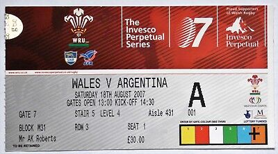 Wales Argentina Rugby Union Ticket 2007