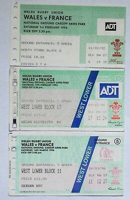 Wales France  Rugby Union Tickets 1992 1994 1996