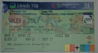 Wales Italy Rugby Union Ticket 2002