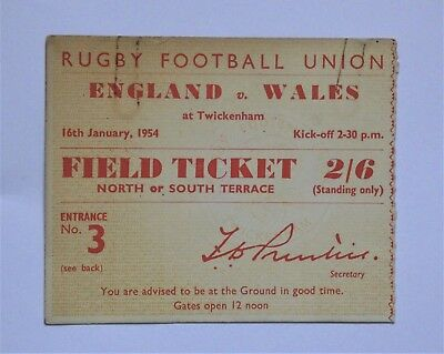 England Wales Rugby Union Ticket 1954