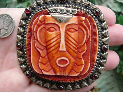 RARE large vintage Sterling silver - Mexico southwest - TRIBAL face MASK PIN