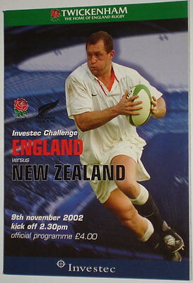 England New Zealand Rugby Union Programme  2002