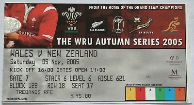 Wales New Zealand Rugby Union Ticket 2005
