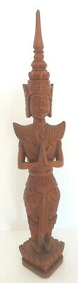 Vintage Carved Teak Wood Praying Bali Hindu Goddess Figurine 17""