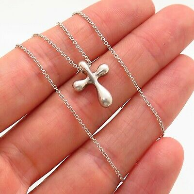 Tiffany & Co. Elsa Peretti 925 Sterling Silver Cross Pendant Chain Necklace