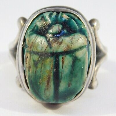 Egyptian Art Deco Sterling Carved Scarab Ring