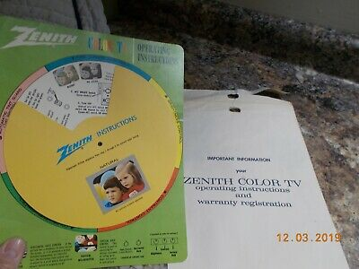 """Undated Zenith Color TV Operating Instructions 8"""" Rotating Slot Wheel #202-3386"""