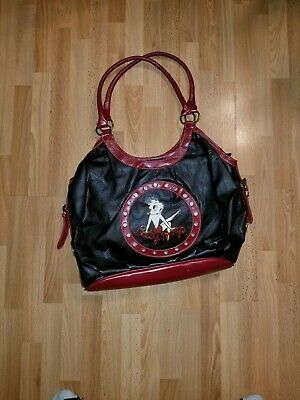 Betty Boop 2007 King Features Syndicate Black & Red Faux Leather Purse Bag