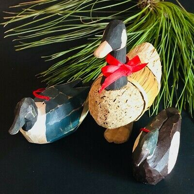 Vintage wooden,hand carved duck/decoy, Inuit art, Christmas ornaments