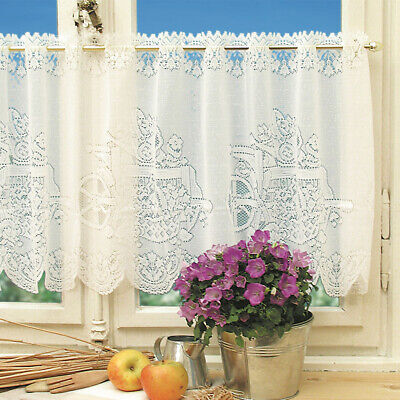 Victorian White Cotton Look Lace Window Cafe Net Curtain IN9