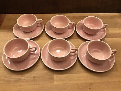 Bauer Brusche Pottery Pink Speckled Al Fresco Cups and Saucers 6 Sets