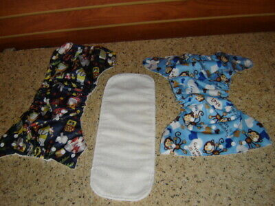 Lot of 2 Sun Baby Pocket One Size Snap Cloth Diaper with 1 Microfiber Insert  B