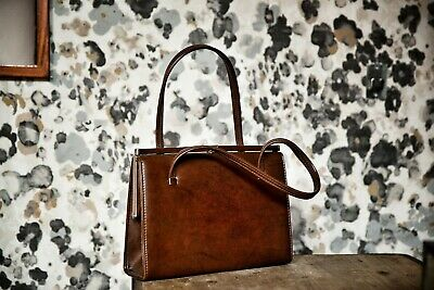 vintage kelly bag from 60s  handbag brown immaculate condition leather lined
