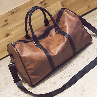 Leather Large Gym Duffel Bag Travel Weekend Overnight Luggage Carry Tote Outdoor