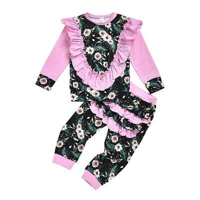 Boutique Toddler Kids Baby Girls Floral Ruffle Tops Pants Tracksuit Outfits Set