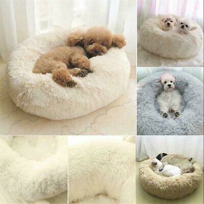 Pet Dog Cat Calming Bed Round Nest Warm Soft Plush Comfortable Deep Sleeping RO