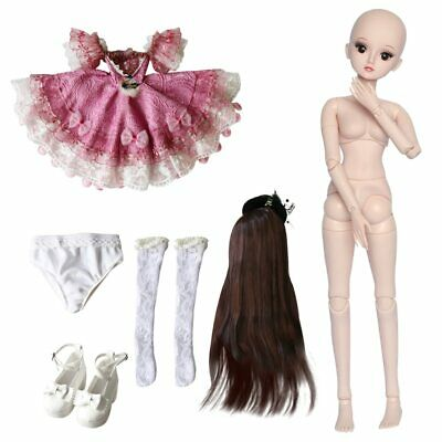 60cm BJD Doll 1/3 Ball Jointed Girl With Face Makeup Wigs Eyes Clothes Xmas Gift