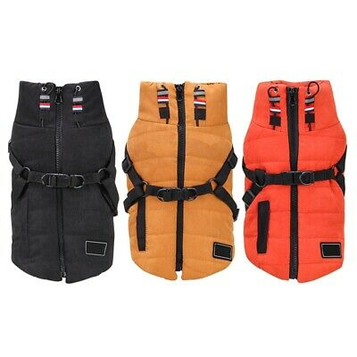 UK Winter Warm Dogs Clothes Pet Coats Vest Jacket With Outdoor Walking Harness