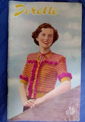 DORETTE DESIGNS #13 rare early 1950s  designs knitting pattern booklet