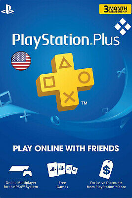 PlayStation Plus 3 Month 90 Days Card - PSN Membership Code PS3 PS4 - USA