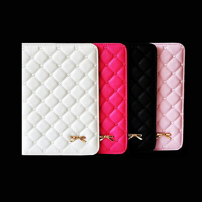 Love Heart Bow Soft Leather Smart Case Cover For iPad 2 3 4 5 Air Air 2 Mini 123