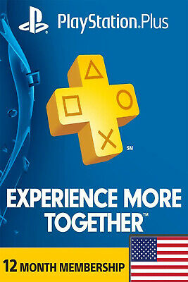 PlayStation Plus 12 Month 365 Days Card - PSN Membership Code PS3 PS4 - USA