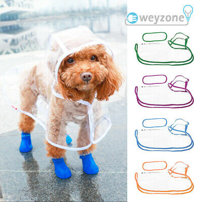 Portable Pet Dog Puppy Rain Coat Raincoat PVC Waterproof Jacket Rainwear Hoodie