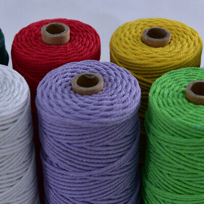 UK 3mm*100m Coloured Twisted Cotton Rope Cord DIY Craft Macrame String