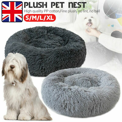 UKPet Dog Cat Calming Bed Warm Plush Round Nest Comfy Sleeping Cave Lodge Kennel