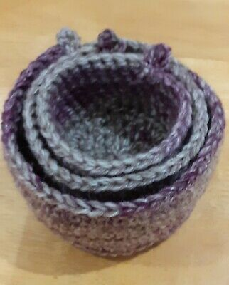 Nesting Tidy Baskets - Crochet Hand Made - Multi Use (1)