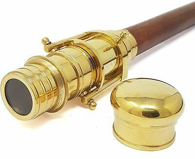 Wooden Walking Stick With Fitted Solid Brass Telescope On Handle Walking Stick