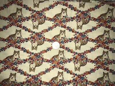 Quilt, Sew, Fabric - 7/8 YDS Kitties & Floral