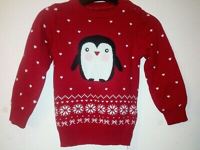 Bnwt Primark Young Dimension Baby Girls Christmas Penguin Red Tunic 9-12 Months
