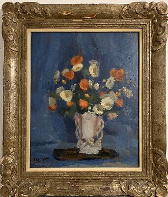 Beautiful Mid Century French Vintage Still Life Signed Oil - Flowers In Vase